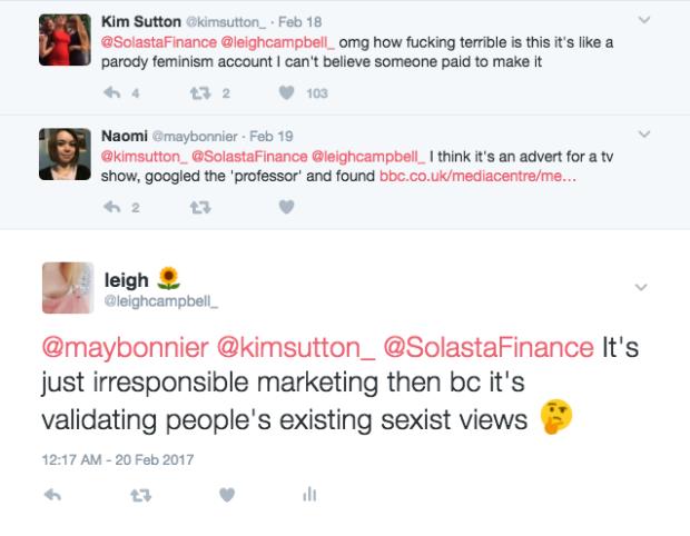 solasta-finance-clique-bbc3-louise-brealey-feminism